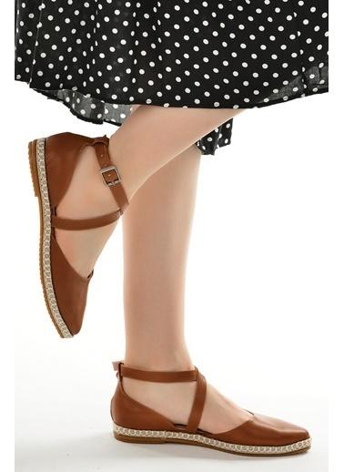 Ayakland 17736 Cilt Günlük Anatomik Kadın Babet Ayakkabı Taba